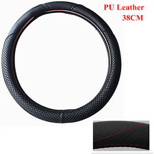 "15"" Car Vehicle Anti-Slip Steering Wheel Cover Black & Red Stitching All Seasons"