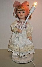 "Vintage Porcelain Doll Lamp 14"" Blonde Curly Hair"