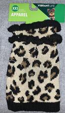 Vibrant Life Leopard Print Dog Pet Sweater Apparel Size XXS NEW
