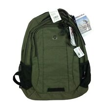 """Swiss Gear 18"""" Olive Backpack Green Padded Straps Hiking Bottle Pockets New"""