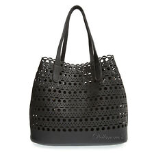 STREET LEVEL Black Laser Cut Perforated Tote and Shoulder Bag Handbag • NWT