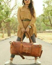 Vintage Weekend Cabin Sport Duffel Bag Square Genuine Leather Holdall Travel