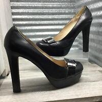 Michael Kors Black Women's Leather Platform Heel Shoe Buckle Horse Bit Size 9.5