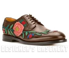 GUCCI men 9 brown leather FLORAL Web STRAND brogue lace-up shoes NIB Auth $1300!