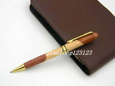 Jinhao Half Red Half White Wood Golden Twist Trim Ballpoint Pen