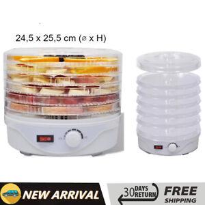 Essiccatore Alimentare con 6 Vassoi Disidratatore Conservazione Cibi  Bianco
