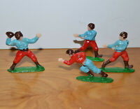 """VINTAGE FOOTBALL PLAYER CAKE TOPPERS PLASTIC FIGURINES TOYS HONG KONG 2"""" TALL"""