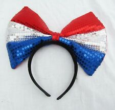 Americana Tie Bow Headband Piece Hair Hoop Patriotic 4th of July Party Costume