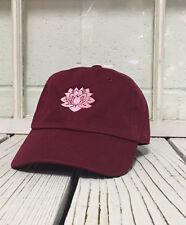 Hip Lotus Flower Embroidered Low Profile Baseball Cap Hat Burgundy