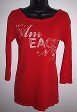 American Eagle Outfitters Size Medium Womens Long Sleeve Red Graphic Casual Top