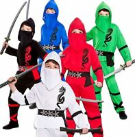 BOYS POWER NINJA JAPANESE SAMURAI WARRIOR CHILD KIDS FANCY DRESS COSTUME OUTFIT
