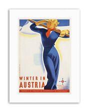 WINTER AUSTRIA SNOW SKI ALPINE MOUNTAIN Poster Travel Sport Canvas art Prints