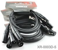 5-Pack 3ft Kirlin XLR Male/Female 20AWG Microphone Audio Cable, XR-0003D-5