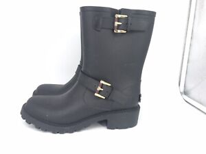 Tommy Hilfiger Womens Black Rubber Motorcycle Style Rain Boots Size 7 M Combat