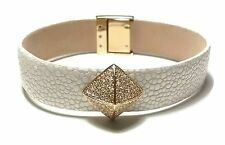 NWT $125 MICHAEL KORS White Leather Gold Rhinestone Snap Bracelet