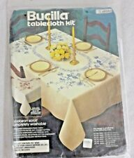 NEW BUCILLA TABLECLOTH KIT JACOBEAN SCROLL EMBROIDERY 4 NAPKINS # 48586 BLUE