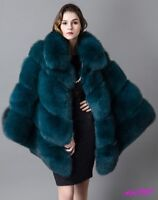 Womens Cape Coats Jackets Green Faux Fur Fashion Party Winter Thicken New