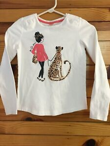 "Gymboree Right Meow ""The Cats Meow"" Shirt Girls White Long Sleeve Top Tee 10"