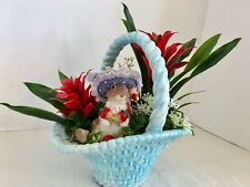 Floral Arrangement With Red Bromeliads, Cute Squirrel in a Blue Ceramic Basket