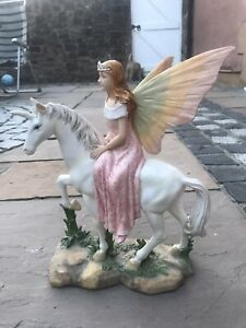Past Times Unicorn Fairy Princess Riding Statue Ornament 32cm Tall