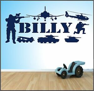 PERSONALISED WALL ART STICKER ANY NAME BOYS  army military soldier tank gun