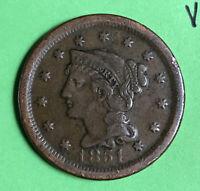 1851 1c Braided Hair Large Cent VF Very Fine