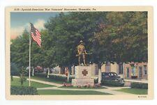 Spanish American War Monument SHAMOKIN PA Vintage Northumberland County Postcard