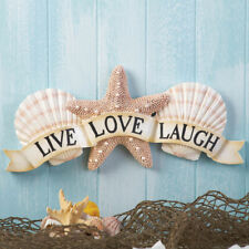 Live Love Laugh Inspirational Coastal Seashell Wall Art Starfish Beach Decor