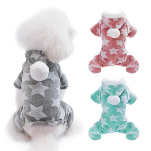 Soft Dog Pajamas Jumpsuit Chihuahua Clothes Hoodie Warm Fleece Puppy Cat Apparel
