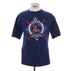 Majestic Mens Large Blue Red Boston Red Sox Baseball Crew Neck T-Shirt