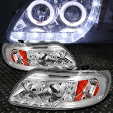 [HALO RINGS+LED DRL] FOR 1997-2003 FORD F150 CHROME AMBER PROJECTOR HEADLIGHTS