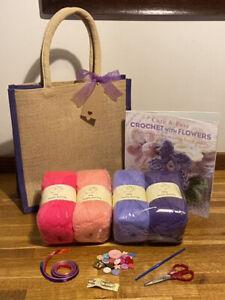 BUMPER BEGINNER LEARN TO CROCHET KIT & CROCHET + FLOWERS BOOK & PURPLE JUTE BAG