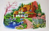 """Large New Completed finished cross stitch""""Dreaming House""""home decor gift"""