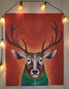Malerei Bild Acryl Gemälde Original  Kunst Leinwand 'Tracksuit on Deer'