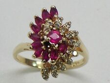 Solid 14KT Fine Yellow Gold Swirl Cocktail Ring Rubies And Diamonds Size 6.25