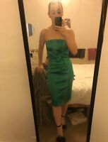 Karen Millen Green Satin Occasion Dress Size 10