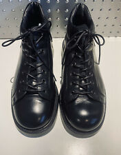 BOSS * Hugo Boss Made In Italy Black Leather Lace Up Ankle Boot Shoe $595 Mens 8