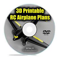 25 3D PRINTABLE Remote Control RC Radio Model Aircraft Plans, EASY .STL DVD I21