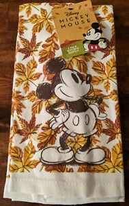 Disney Mickey Mouse Sketch Set of 2 Kitchen Dish Towels Fall Leaves NWT