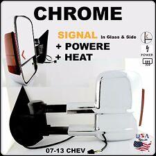 CHROME TOWING MIRRORS PAIR L & R CHEVY & GMC 07-13 POWER HEAT SIGNAL 20862098