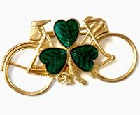 Vintage Irish Gold PLATED Tone Bicycle GREEN Enamel Shamrock Brooch