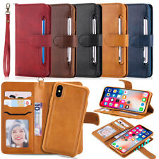Genuine Mat Faux Cuir Magnetic 2en1 Portefeuille Etui Housse For iPhone Samsung