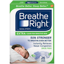 Breathe Right Nasal Strips  EXTRA Clear for Sensitive Skin 26 Clear Strips