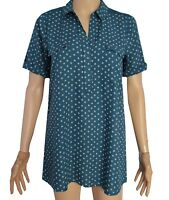 D8 New White Stuff size 12 Teal Blue Green dice print Blouse Tunic Top