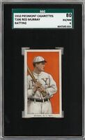 Rare 1909-11 T206 Red Murray Batting Piedmont 350 New York SGC 80 / 6 EX - NM