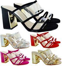 Nuevo Para Mujer Damas paety De Vidrio Claro Boda Verano Bloque Sandalias zapatos tacón alto