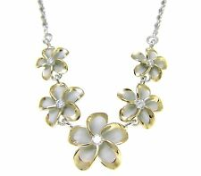 SILVER 925 5 HAWAIIAN PLUMERIA FLOWER NECKLACE RHODIUM YELLOW GOLD 2 TONE
