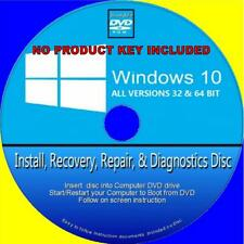WINDOWS 10 INSTALL RECOVER RESTORE REPAIR FIX PC-DVD HOME & PROFESSIONAL 64 Bit