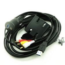 3.5mm USB 3.0 Car Dashboard Flush Mount AUX Socket Extension Lead Panel Cable