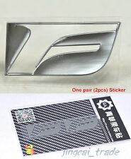 Pair (2 pcs) Polished Chrome F Logo Car Emblem Sticker Decal OEM for Lexus - K